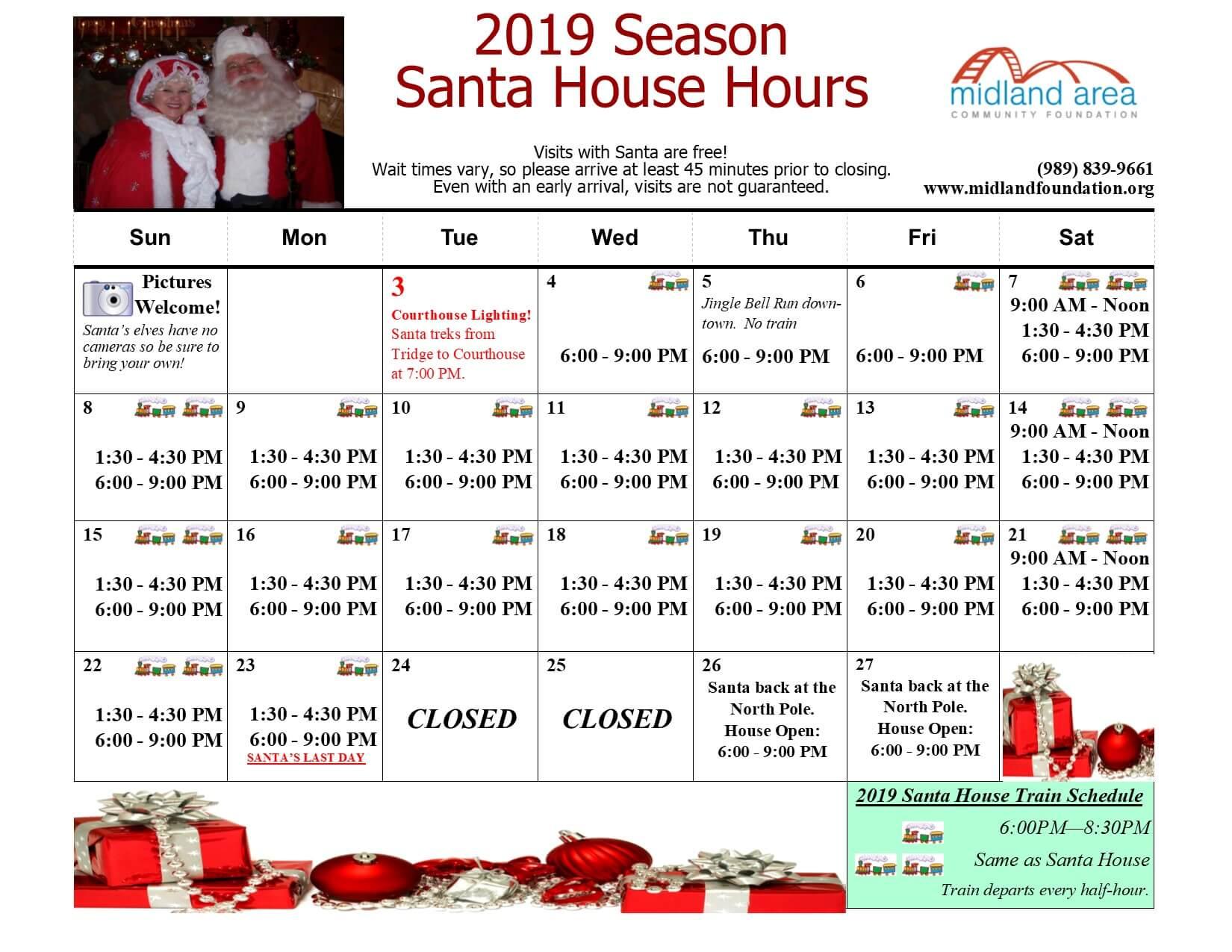 2019 December Santa House Schedule Updated